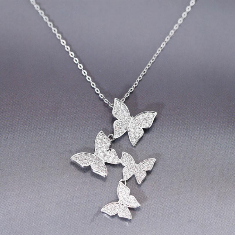 Butterfly Pendant Necklaces Zircon Choker 925-Sterling-Silver jewelry Trend Women Gift