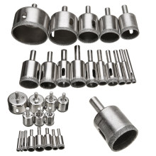 15pcs Diamond Coated Drill Bit Set Tile Marble Glass Ceramic Hole Saw Drilling Bits For Power Tools 6mm-50mm(China)