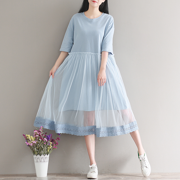 b5a219bdce78f Summer new pure color mesh stitching fake two piece dress loose Korean  style O neck half sleeve T shirt dress embroidered edges