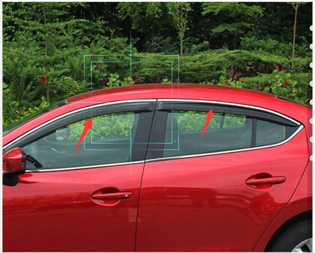 ACCESSORIES FIT FOR 2013 2014 2015 Mazda 3 AXELA WINIDOW VISOR RAIN GUARD  DEFLECTOR SHADE WEATHER