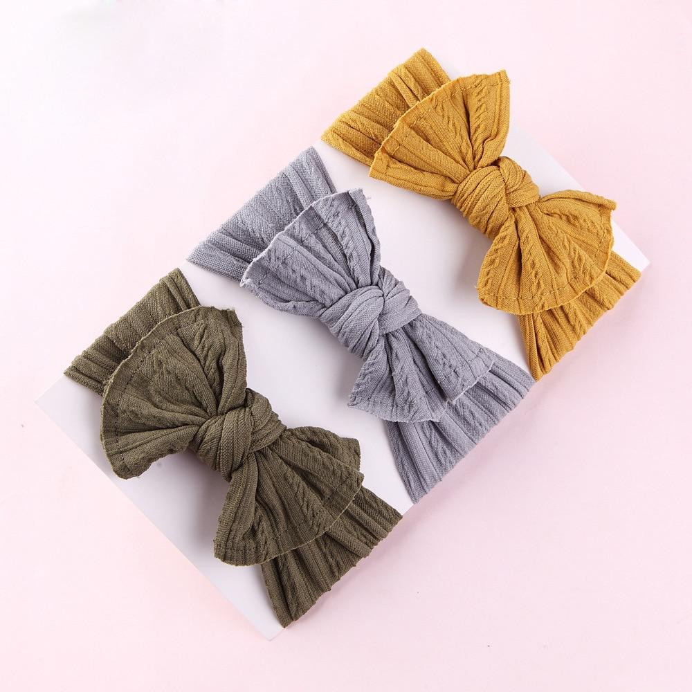 30 шт./лот вязаные широкие нейлоновые повязки на голову ручной работы для новорожденных детей, ободок для волос с узлом и бантом, Детские аксе...