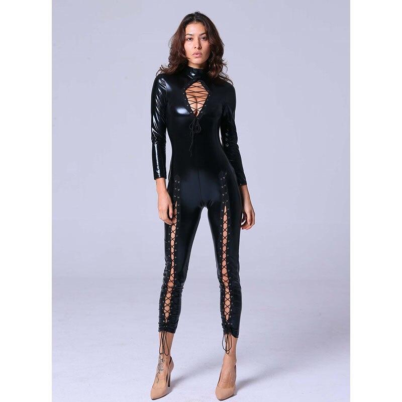 Amore Paradise Black Vinyl Long Jumpsuit Bodysuit Unique Lace Up Legs Hollow Out Jumpsuit Women Faux Leather PU Club Catsuit