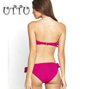 Image 2 - UTTU High Quality Sexy Push Up Bow Bikini Women Solid Strappy Swimsuit Brazilian Beach White Swimwear Samll Bust Bathing Suit