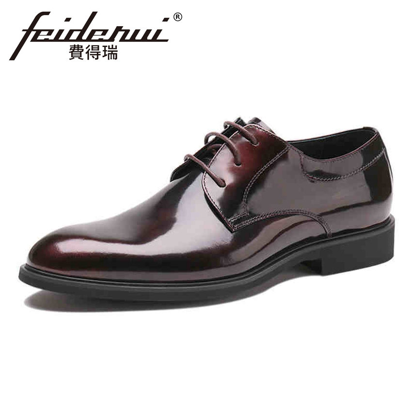 Hombres Zapatos vino Derby Ymx223 De Formal Redonda Flats Vestido Negro Partido Charol Tinto Lujo Calzado Encaje Punta Nueva Llegada Los Hombre Boda 7qRXTTw