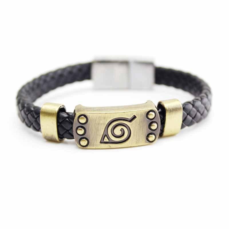 Anime Naruto Black Leather Bracelet Leaf Mark Brown Wristband Cosplay Bangle For Anime Fan