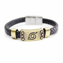 Anime Naruto Black Leather Bracelet Leaf Mark Brown Wristband Cosplay Bangle For Anime Fan