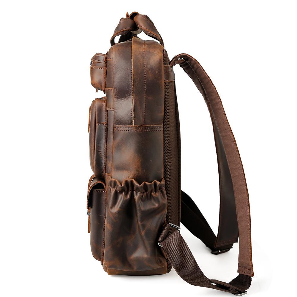 Фирменная винтажная мужская сумка для ноутбука пакет из натуральной коровьей кожи рюкзак для путешествий mochila - 2