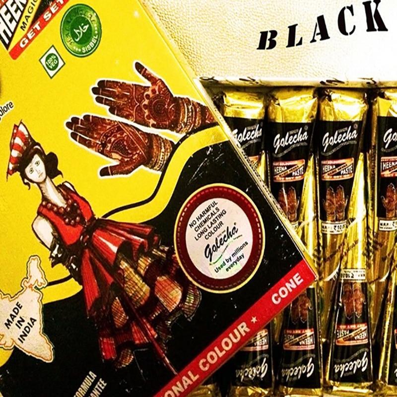 ٩ ۶12 Pieces Golecha Black Indian Henna Tattoo Paste Cone Body