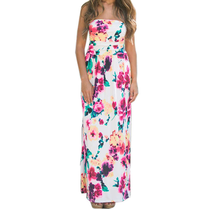 c02ed7ee9cbea Detail Feedback Questions about Strapless Floral Printed Long Dress ...