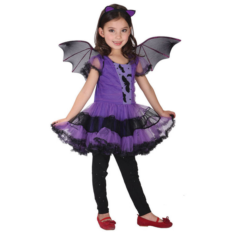 Halloween Dress party girls Toddler Kids Baby Girl Halloween Clothes Costume Dress+Hair Hoop Bat Wing Outfit drop ship 30 baby girls halloween pumpkin dress girls halloween stripe ruffle dress halloween party dress long sleeve with accessories