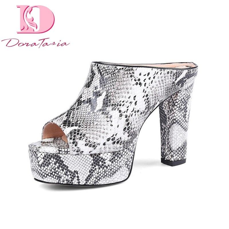 Doratasia 여성 좋은 품질 브랜드 정품 가죽 하이힐 플랫폼 신발 여성 캐주얼 여름 뮬 펌프 신발 여성-에서여성용 펌프부터 신발 의  그룹 1