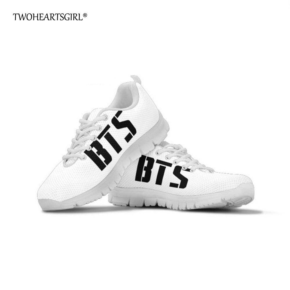 Twoheartsgirl White Women Shoes Lace Up Korean BTS Print Sneakers for Women Kpop Breathable ...