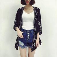 Cheshanf Embroidery Kimono Cardigan Women Casual Loose Vintage Cardigan Ladies Girls White Black Red Summer Cardigan