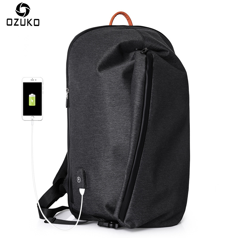 OZUKO Large Capacity School Backpack Men External USB Charge 15inch Laptop Backpack Casual Travel waterproof Male Mochila 2018 augur 2018 brand men backpack waterproof 15inch laptop back teenage college dayback larger capacity travel bag pack for male