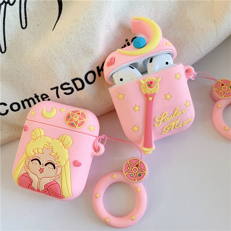 Bluetooth Earphone Case For Airpods 2 Accessories Protective Cover Bag Anti-lost Ring Strap Cute Cartoon Silicone 3D Sailor Moon