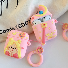 Bluetooth Earphone Case for Airpods 2 Accessories Protective Cover Bag Anti lost ring Strap Cute Cartoon Silicone 3D Sailor Moon
