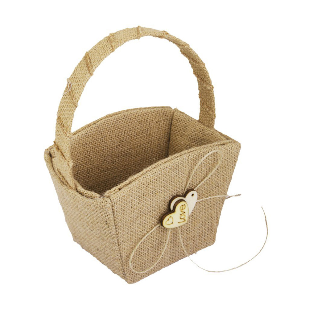 Vintage Wedding Burlap Hessian Flower Girl Basket Wooden Heart