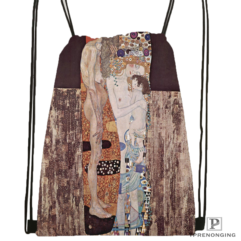 Custom Gustav Klimt Painting Drawstring Backpack Bag Cute Daypack Kids Satchel (Black Back) 31x40cm#180531-02-65