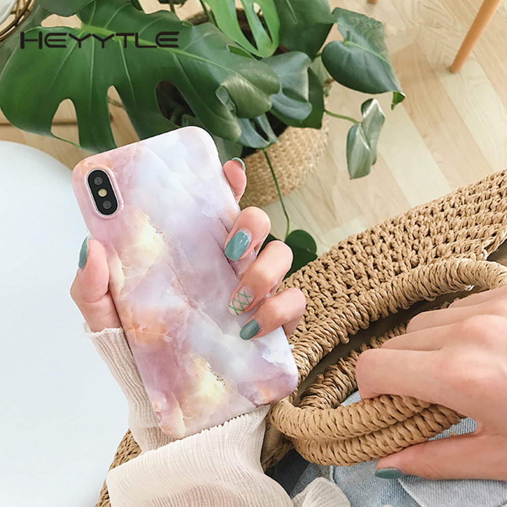 Heyytle Marble Phone Cover For Apple iPhone X 8 7 6S 6 Plus Case Cute Pink Fashion Capa Soft TPU Back Cases For iPhone 10