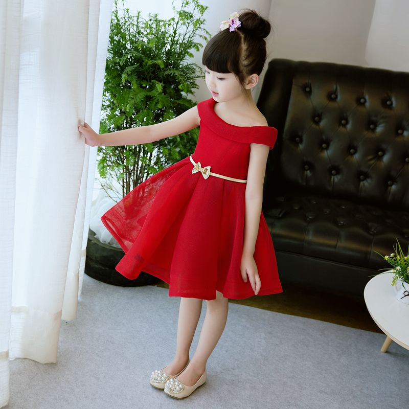 Off Shoulder Flower Girls Dress Knee-Length Princess Dress Sashes Red Ball Gown Summer Wedding Dress Evening Party Gown A154 new arrival fashion summer girls kids sleeveless flower dress elegant sweet children girls knee length ball gown dress