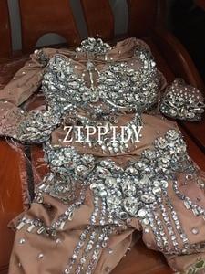 Image 5 - קריסטלים נוצצים עירום סרבל למתוח אבנים תלבושת לחגוג בהיר Rhinestones בגד גוף תלבושות זמרת יום הולדת שמלה