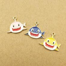 10pcs 16x19mm enamel shark charm for jewelry making and crafting fashion earring charms enamel sea animal pendants