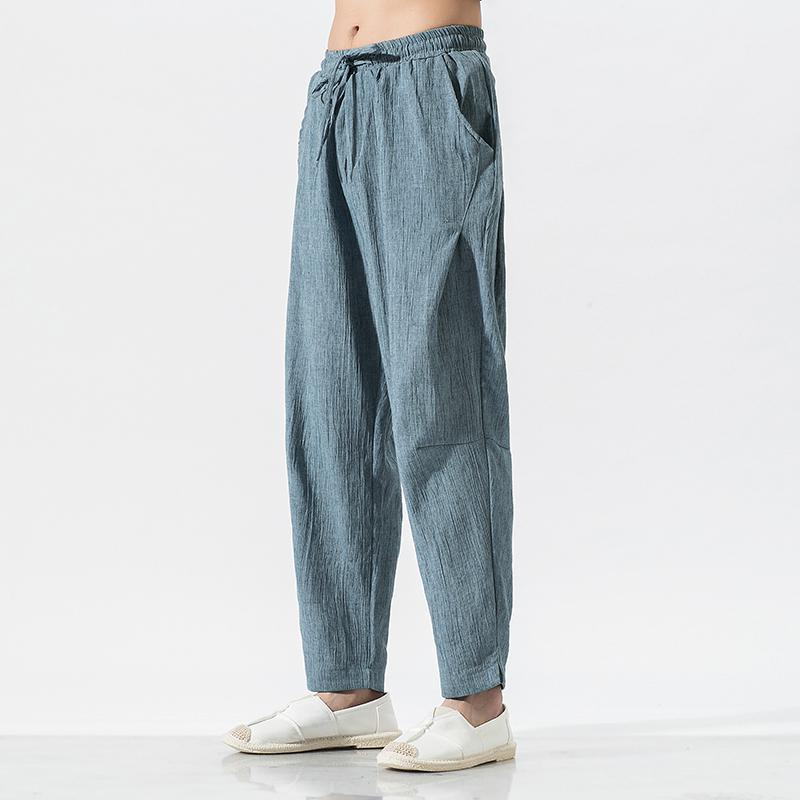 Plus Size Men Harem Pants Male Linen Traditional Chinese Clothing Hip Hop Streetwear Work Clothes Tai Chi Trousers 5XL