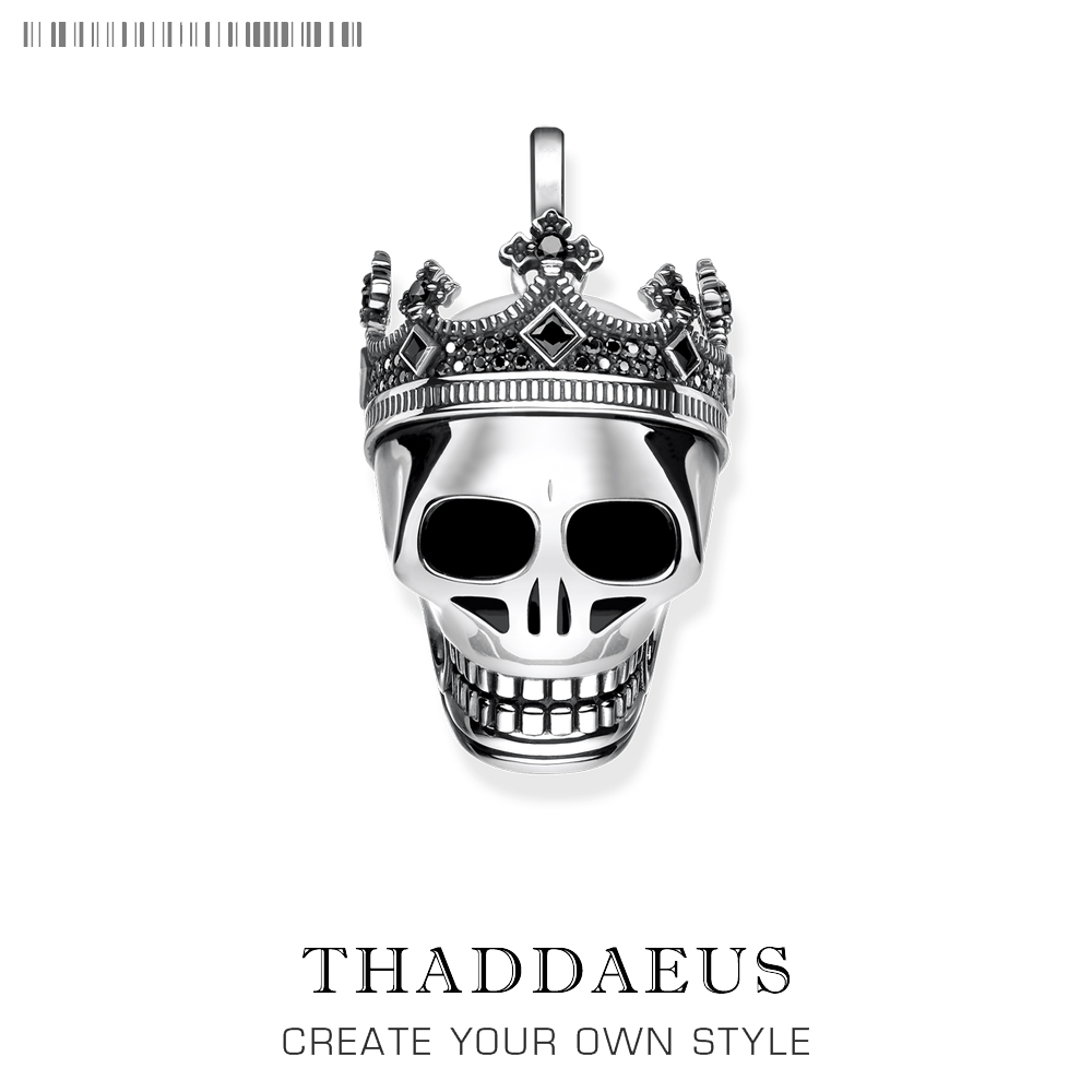 Pendant Skull Crown,2019 New Vintage 925 Sterling Silver Fashion Jewelry Thomas Style Bijoux Accessories Gift For Ts Woman & Men