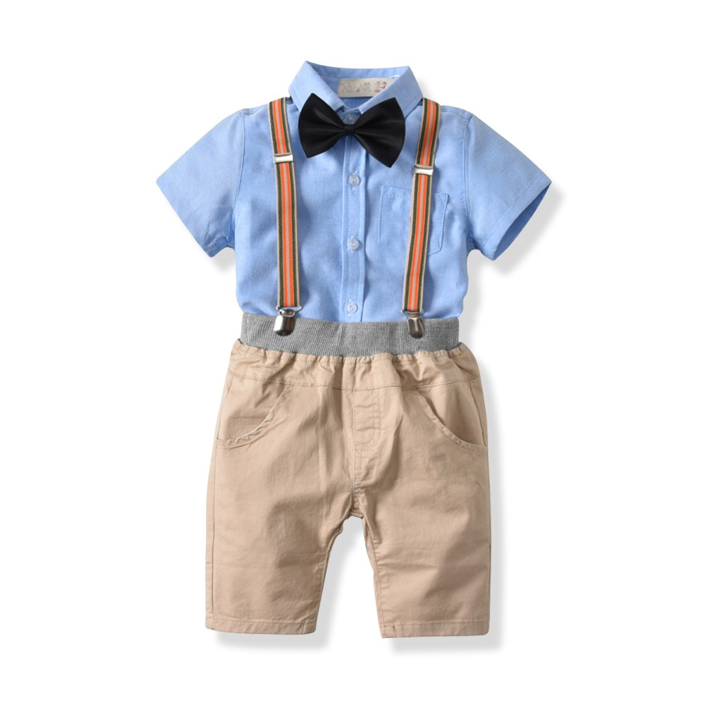 Baby Boys Summer Formal Suits for Birthday Children Cotton Clothes 1 3 5 7 Years Boys Short Sleeved Shirt and Strap Shorts Sets