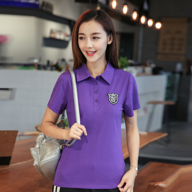 74e64592ada 10pcs lot Summer Polo Shirt Women Short Sleeve Solid Slim Polo Shirts Tops  Fashion Cotton Polo Femme Plus Size 6 Colors