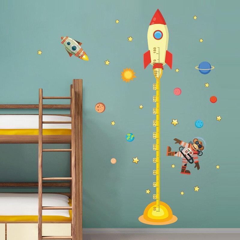 Rocket Monkey Astronaut 3d Cartoon Height Wall Stickers Growth Chart