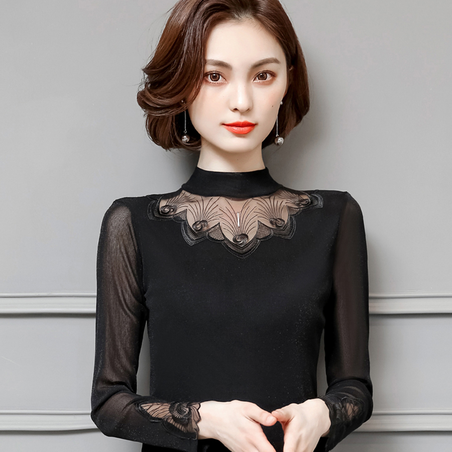 Black Sexy T Shirt Women Lace Long Sleeve Korean Style Woman Tshirt Top Punk Rock Aesthetic Summer Vogue Womens Clothing 60Q088