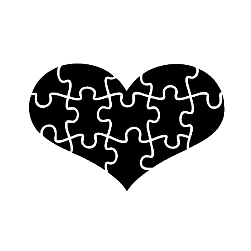 19da9890926 15.2CM*10CM AUTISM AWARENESS PUZZLE HEART SUPPORT LOVE REAL PEOPLE Vinyl Car  Sticker Decal Black/Silver