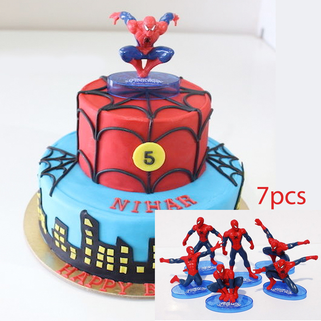 Spider man PVC Doll Toy 7pcs Cake Topper Kids Boy Birthday Gift