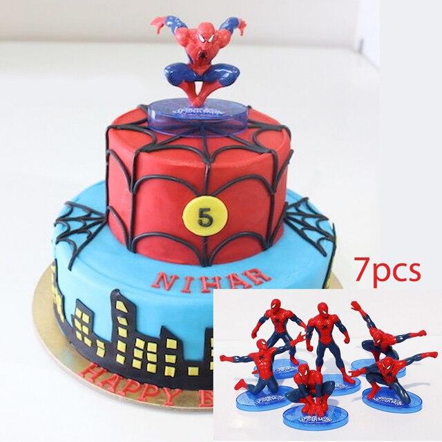Spinne Mann Pvc Puppe Spielzeug 7 Stucke Kuchen Topper Kinder Junge