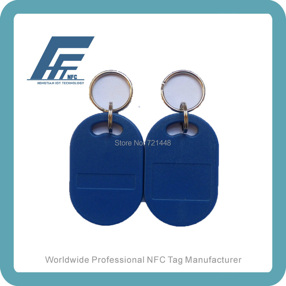 NFC keychain Ntag213 compatible with all nfc mobile phones Blue Waterproof NFC keyfob 100pcs
