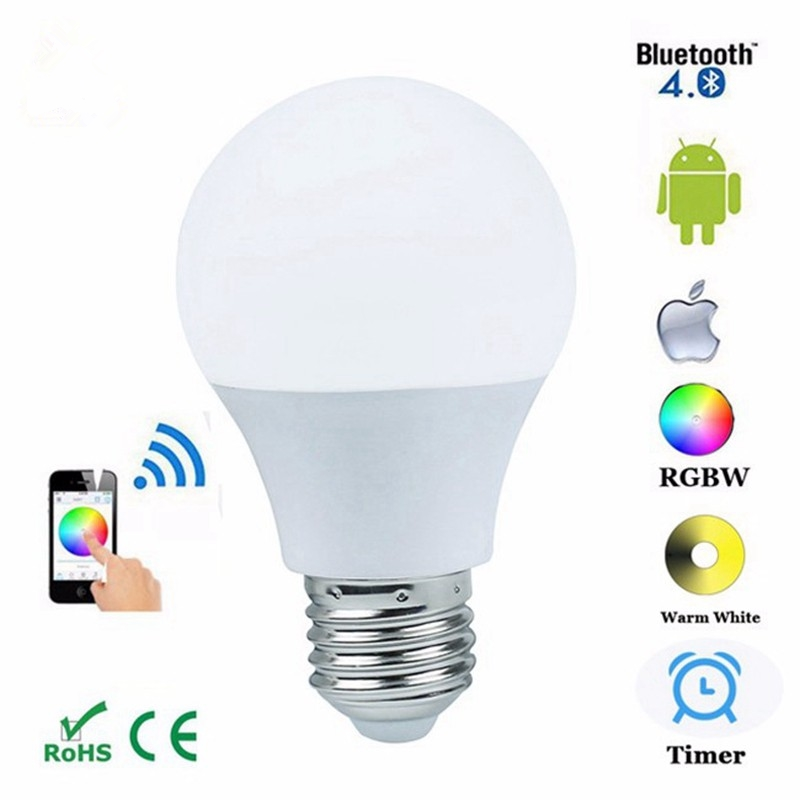 Bluetooth 4.0 LED Bulb Smartphone App Remote Control Led Light E27 RGBW Dimmable Led Lamp Sleeping Mode Smart Home Disco Light wf820 e27 smart phone led wi fi controlled sunrise wake up multicolored color changing disco light sleeping dimmable