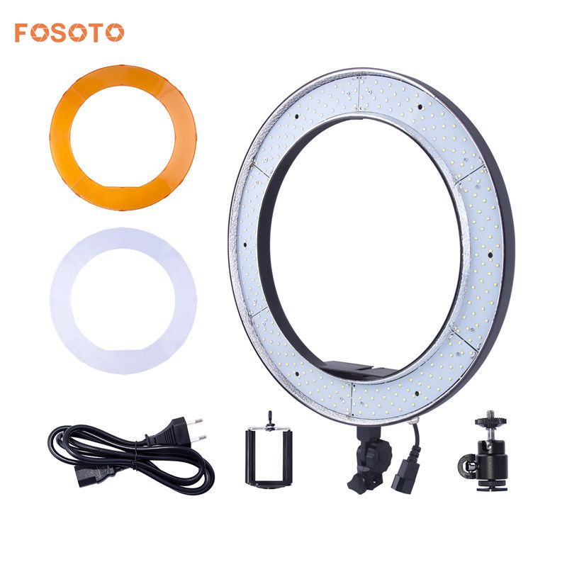 fosoto RL-188 Photographic Lighting 55W 5500K 240 LED Dimmable Photography Ring Light Lamp For Camera Photo Studio Phone Video studio 19 48cm 55w 5500k dimmable led ring light lamp with color filter for video photo makeup beauty selfie lighting ru