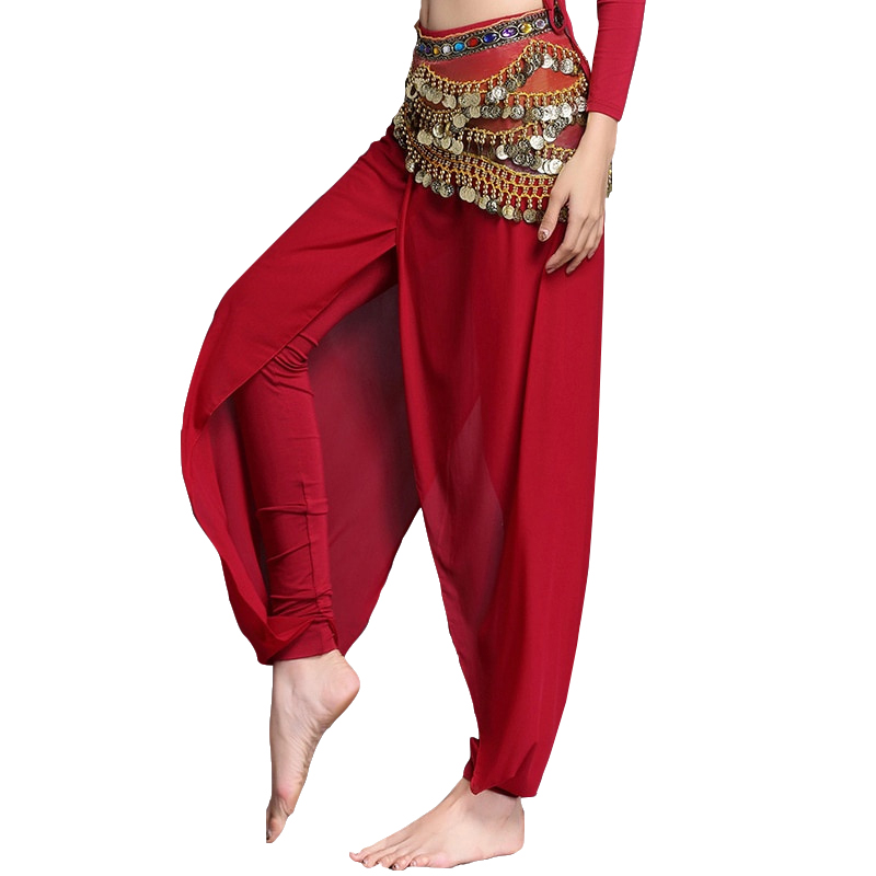 Women Belly Dance Accessories Training Clothes Class Wear Skinny Pants Sheer Chiffon Dance Long Trousers (without Belt)
