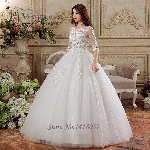 castillo princesa del vestido de bola encaje media manga palabra de