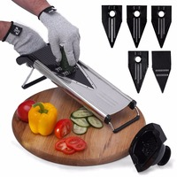 TTLIFE Stainless Steel Mandoline Slicer Vegetable Cutter With 5 Blades Potato Slicer Onion Cutter Carrot Grater