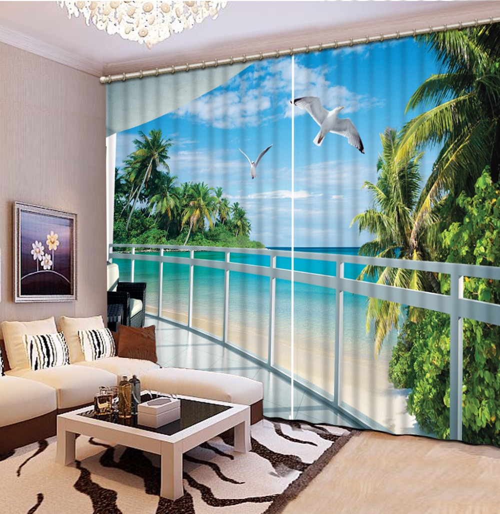 European Printed Curtains sea view Curtains For The Living room Bedroom Luxury Curtains Blackout Hooks/PolyesterEuropean Printed Curtains sea view Curtains For The Living room Bedroom Luxury Curtains Blackout Hooks/Polyester