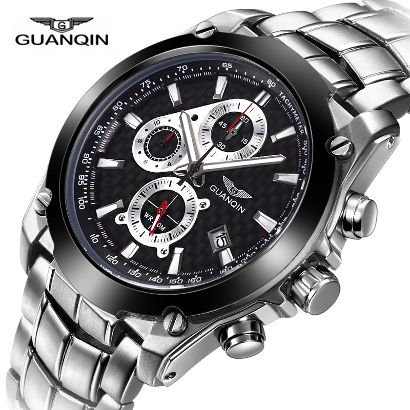 GUANQIN Luxury Top Brand Men Sport Quartz Watch Mens Military Silver Steel Date Luminous Analog Watches male Casual clock hours top brand sport men wristwatch male geneva watch luxury silicone watchband military watches mens quartz watch hours clock montre