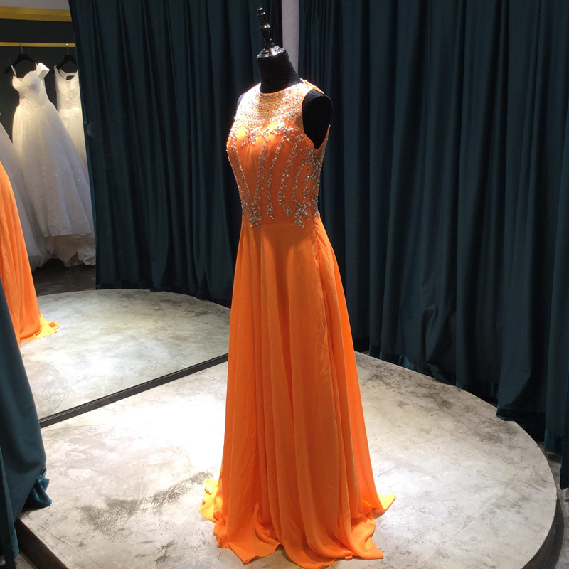 Long A-line Șifon rochii de domnisoare de onoare 2017 Scoop Mănuși - Rochii de seară de nuntă - Fotografie 3