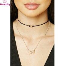 Мода ожерелье для женщин 2017 заявление choker колье collares boho двойной слой форме сердца ожерелья воротник ожерелья
