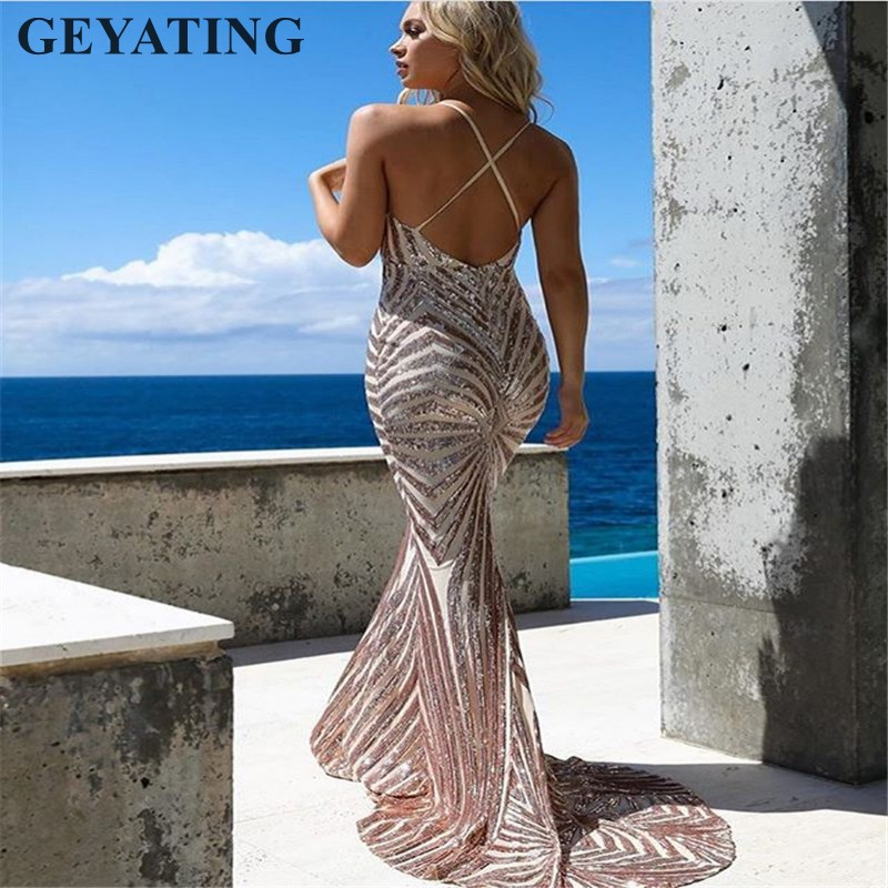 Image 2 - Sexy Rose Gold Sequin Backless Prom Dresses Mermaid 2019 Long Spaghetti Straps Black Maxi Women Formal Evening Party Dress Cheap-in Prom Dresses from Weddings & Events
