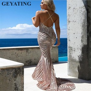 Image 2 - Sexy Rose Gold Sequin Backless Prom Dresses Mermaid 2020 Long Spaghetti Straps Black Maxi Women Formal Evening Party Dress Cheap