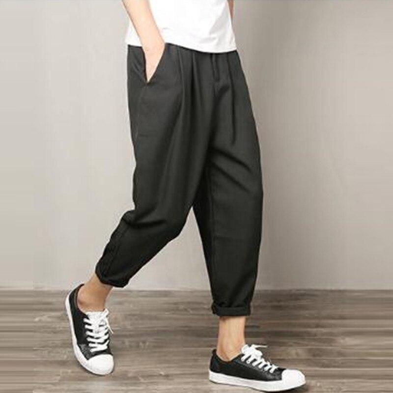 Casual Haren Thin Trousers Men Loose Cotton Linen Pants Fashion Ankle-Length Pants Men Plus Size Male Bottom Homme Summer Autumn