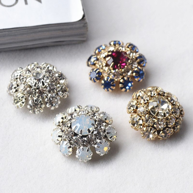New hot sale diamond rhinestone crystal cluster button diy for Craft buttons for sale