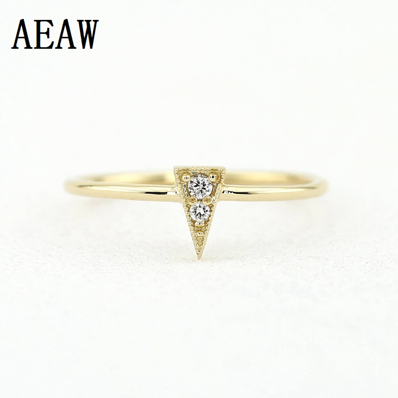 0.06ctw 2.0mm&1.3mm Triangle Shape Stackable RealDiamond Ring Tiny Ring Simple Delicate Diamond Ring 14K Yellow Gold For Women